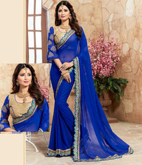 Blue Color Georgette Designer Party Wear Sarees : Takisha Collection  YF-54865