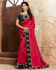 Reddish Pink Color Raw Silk Designer Party Wear Sarees : Takisha Collection  YF-54866