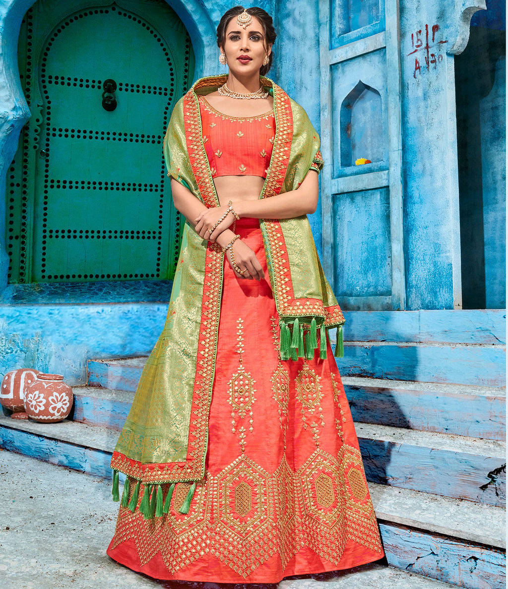 Peach Color Art Silk Pretty Occasion Wear Lehengas NYF-5199