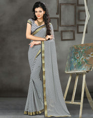 Ash Grey Color Georgette Casual Wear Sarees : Vrishak Collection  YF-58493