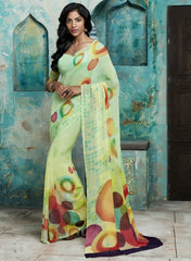 Light Yellow & Light Green Color Georgette Casual Party Sarees : Trishya Collection  YF-45123