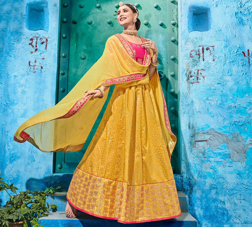 Yellow Color Art Silk Pretty Occasion Wear Lehengas NYF-5200