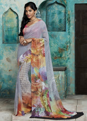 Lavender Color Georgette Casual Party Sarees : Trishya Collection  YF-45124