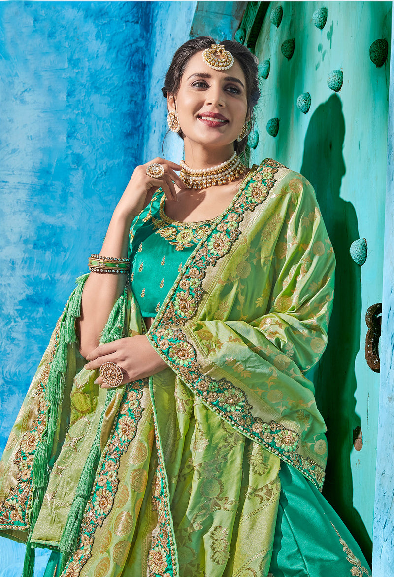 Sea Green Color Art Silk Pretty Occasion Wear Lehengas NYF-5201