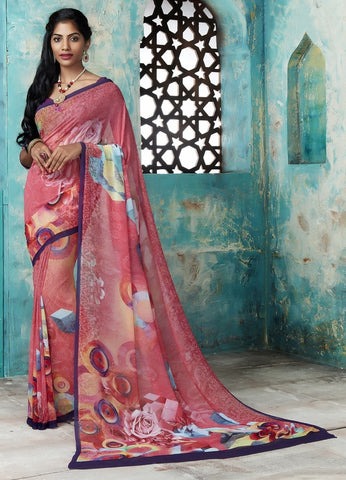 Gajjaria Color Georgette Casual Party Sarees : Trishya Collection  YF-45125