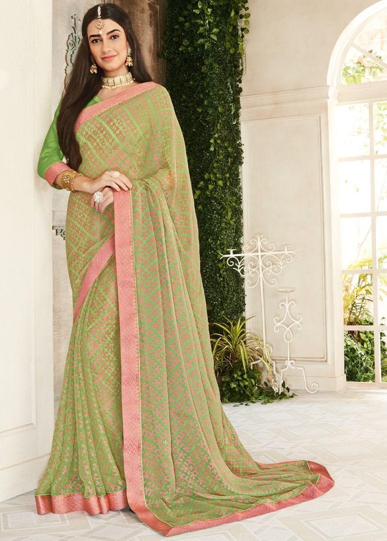 Green Color Brasso Beautiful Kitty Party Sarees NYF-4408