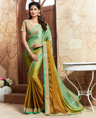 Green & Golden Color Crepe Designer Party Wear Sarees : Takisha Collection  YF-54869