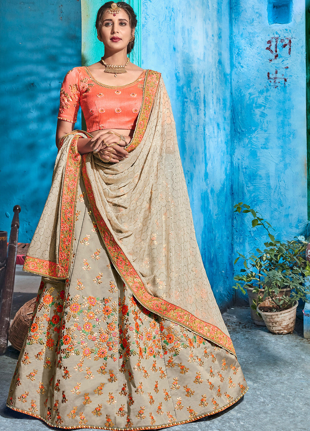 Grey Color Art Silk Pretty Occasion Wear Lehengas NYF-5202