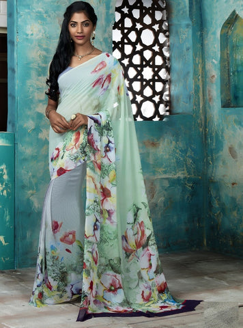 Lavender & Pastel Green Color Georgette Casual Party Sarees : Trishya Collection  YF-45126