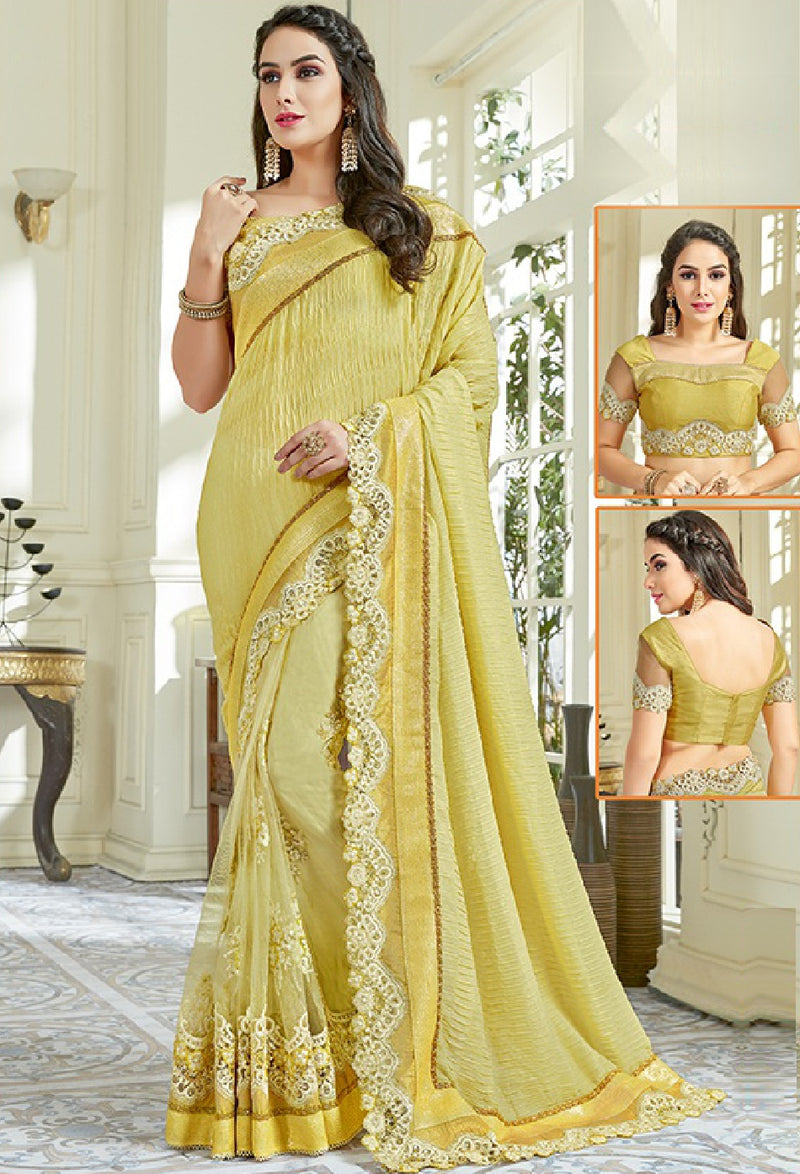 Lime Yellow Color Lycra Designer Festive Sarees NYF-5570