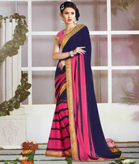 Blue & Pink Color Wrinkle Crepe Casual Function Sarees : Nitika Collection  YF-28223