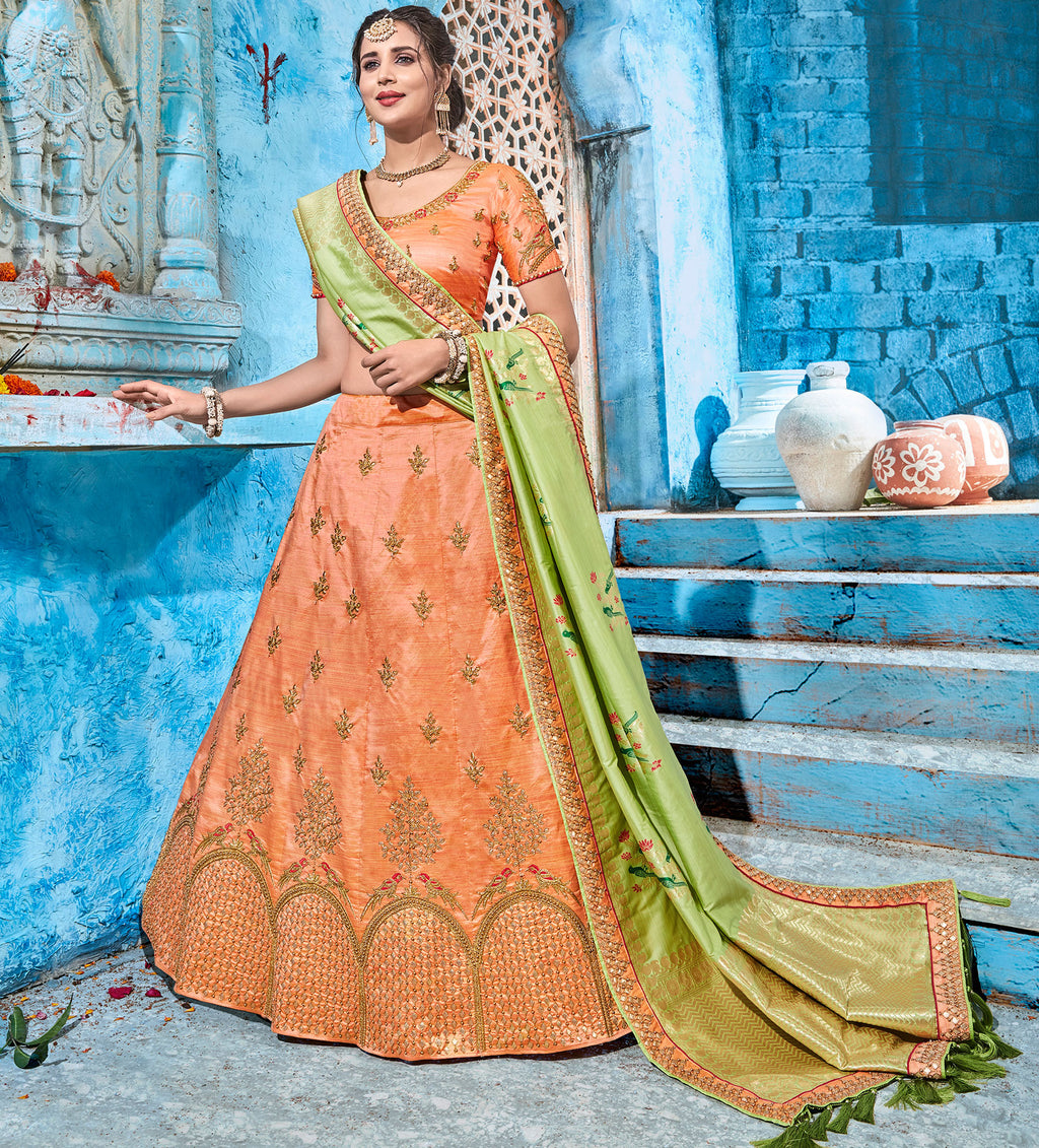 Peach Color Art Silk Pretty Occasion Wear Lehengas NYF-5203