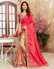 Light Coffee & Pink Color Half Georgette & Half Satin Designer Party Wear Sarees : Takisha Collection  YF-54871