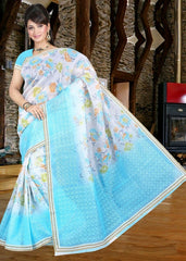 Aqua Blue Color Cotton Daily Wear Sarees : Jivika Collection  YF-41733