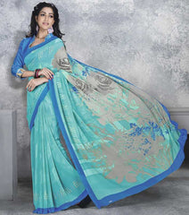 Aqua Green Color Georgette Office Wear Sarees : Dipshir Collection  YF-51788