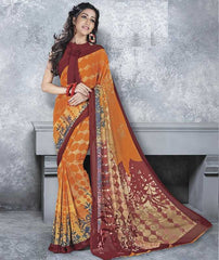 Orange Color Georgette Office Wear Sarees : Dipshir Collection  YF-51790