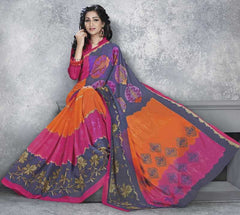 Orange, Pink & Grey Color Georgette Office Wear Sarees : Dipshir Collection  YF-51791