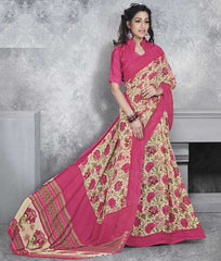 Cream & Pink Color Georgette Office Wear Sarees : Dipshir Collection  YF-51792