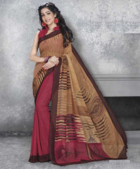 Pink & Brown Color Georgette Office Wear Sarees : Dipshir Collection  YF-51793