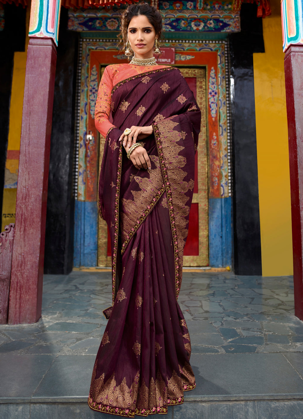 Wine Color Raw Silk Classic Designer Sarees NYF-4965