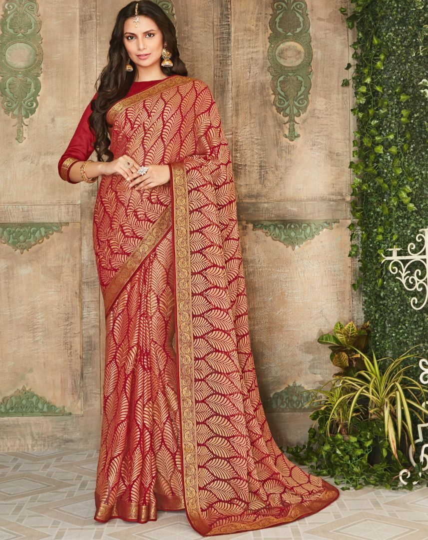Maroon Color Brasso Beautiful Kitty Party Sarees NYF-4409