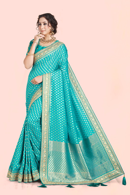 Firozi Color Weaving Silk  Wedding Saree -  Shehzadi Collection YF#10610