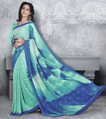 Aqua Green & Blue Color Georgette Office Wear Sarees : Dipshir Collection  YF-51795