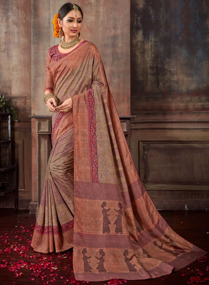 Light Brown Color Tusser Silk Designer Digital Print Sarees NYF-3865 - YellowFashion.in