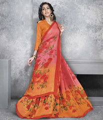Orange & Pink Color Georgette Office Wear Sarees : Dipshir Collection  YF-51797