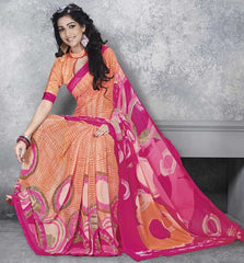 Orange & Pink Color Georgette Office Wear Sarees : Dipshir Collection  YF-51798