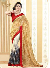 Yellow, Red and Off White Color Chiffon Party Sarees : Anandita Collection  YF-21293
