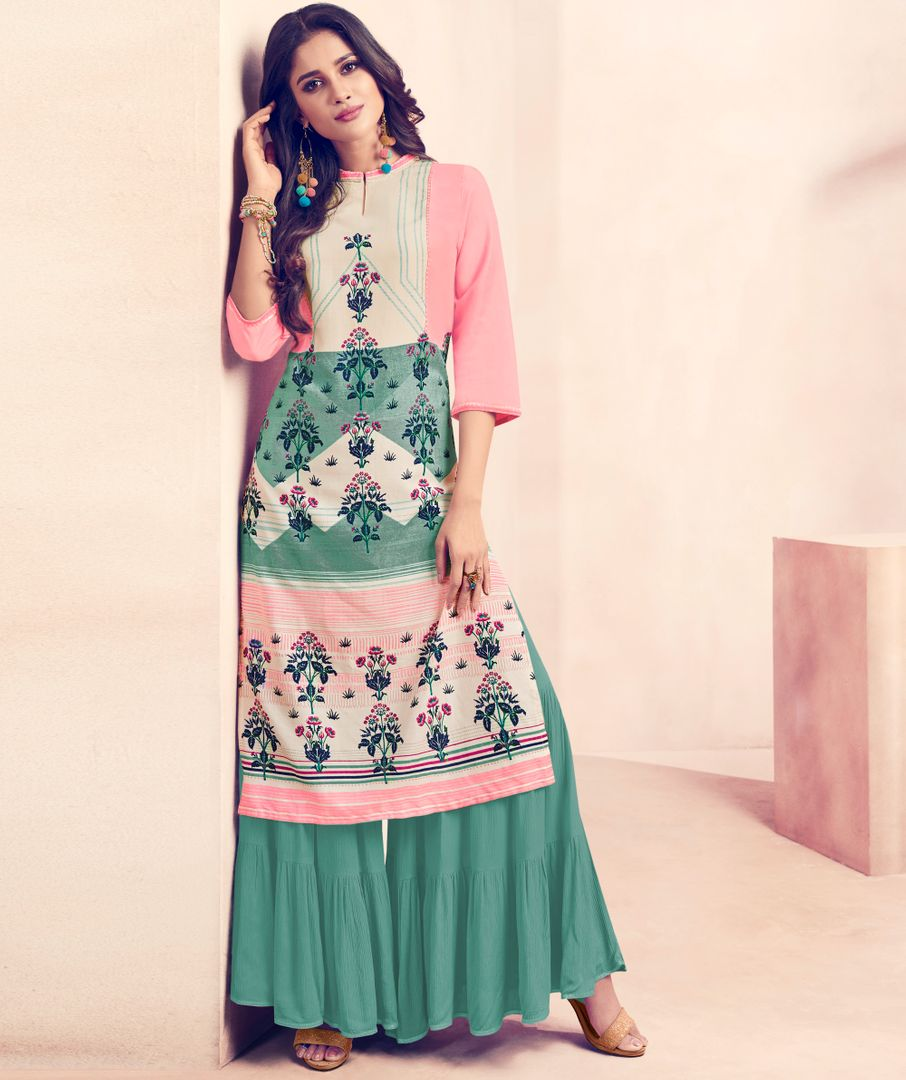 Pink & Sea Green Color Rayon Beautiful Kurti With Bottom NYF-4717