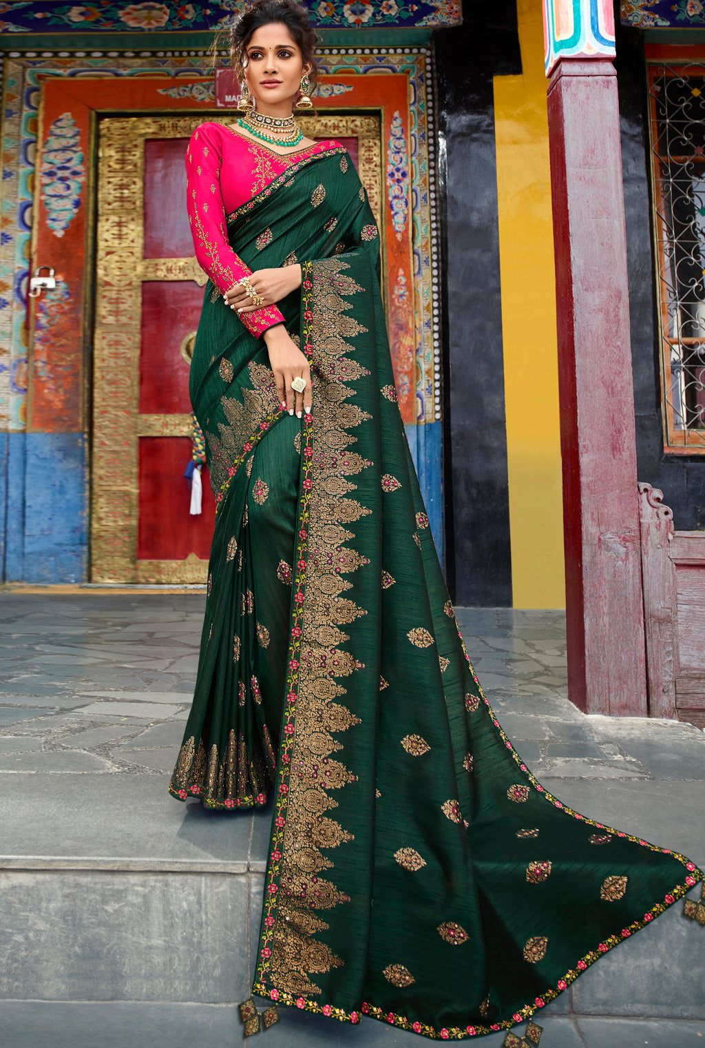 Bottle Green Color Raw Silk Classic Designer Sarees NYF-4966