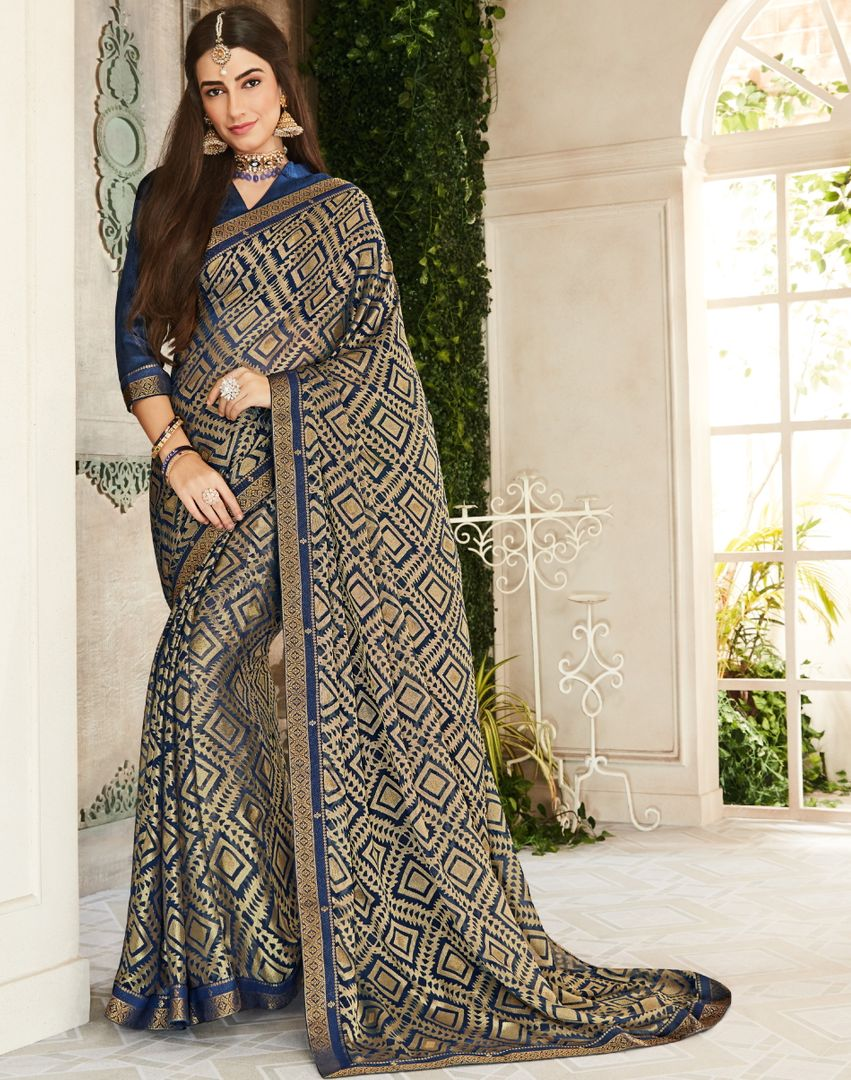 Blue Color Brasso Beautiful Kitty Party Sarees NYF-4410