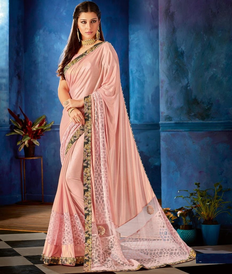 Pink Color Lycra Designer Festive Sarees : Jugni Collection  NYF-1539 - YellowFashion.in