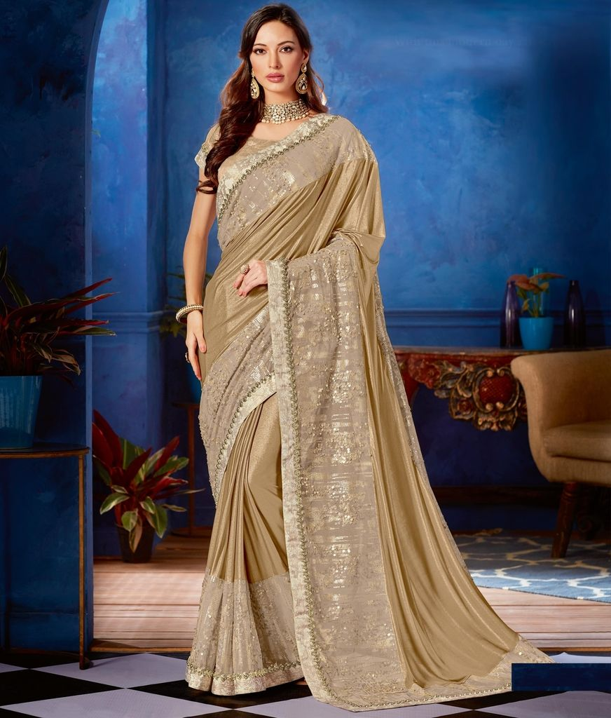 Beige Color Lycra Designer Festive Sarees : Jugni Collection  NYF-1540 - YellowFashion.in