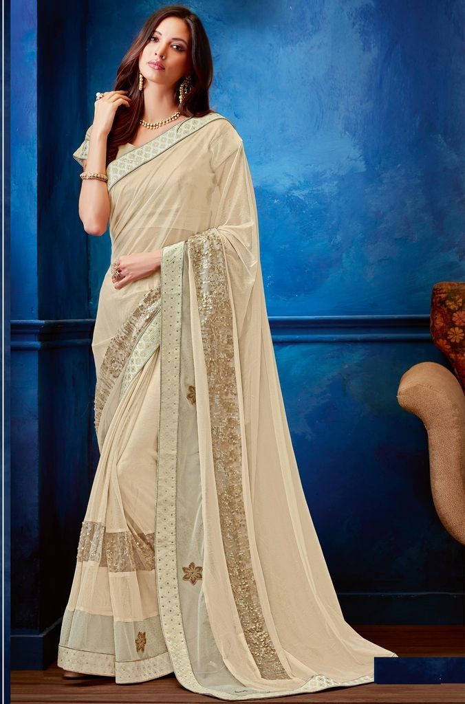 Cream Color Lycra Designer Festive Sarees : Jugni Collection  NYF-1541 - YellowFashion.in
