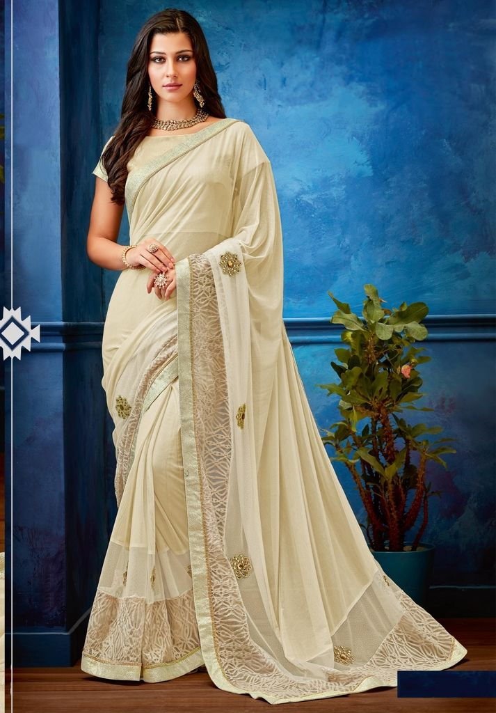 Off White Color Lycra Designer Festive Sarees : Jugni Collection  NYF-1543 - YellowFashion.in