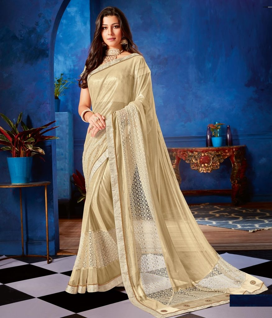 Cream Color Lycra Designer Festive Sarees : Jugni Collection  NYF-1545 - YellowFashion.in