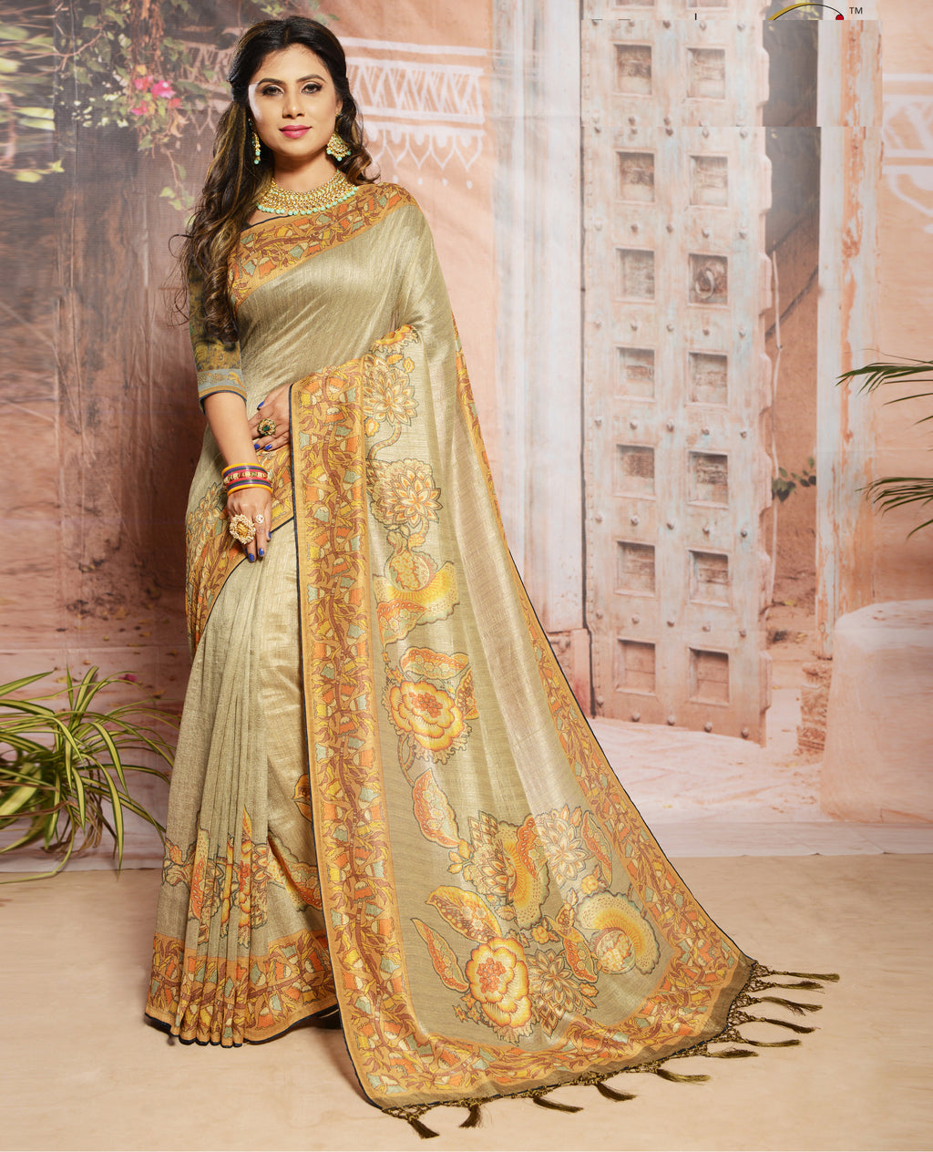 Light Coffee Color Raw Silk Digital Print Festive Sarees NYF-7874