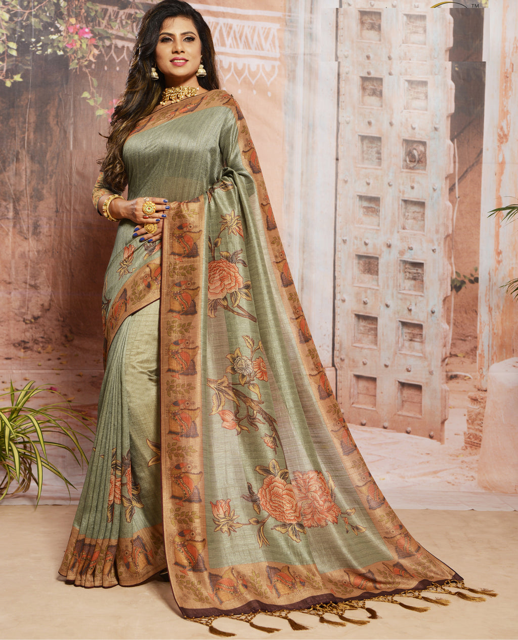 Grey Color Raw Silk Digital Print Festive Sarees NYF-7875