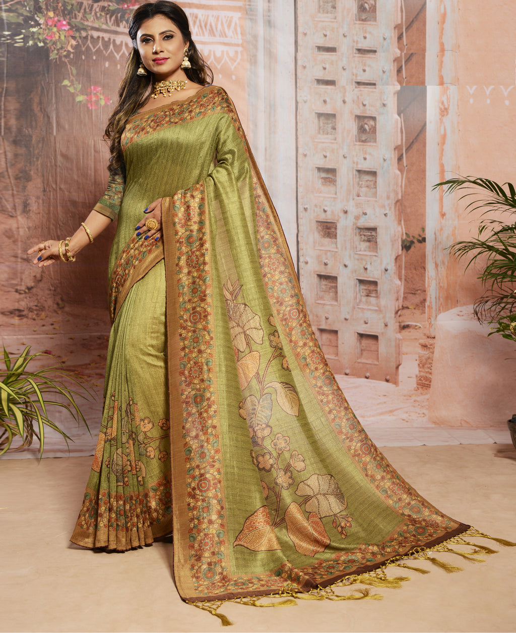 Green Color Raw Silk Digital Print Festive Sarees NYF-7876