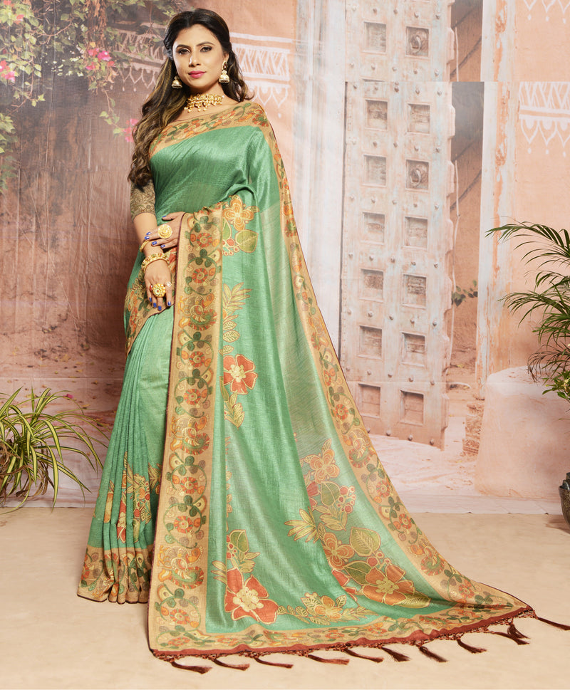 Sea Green Color Raw Silk Digital Print Festive Sarees NYF-7877