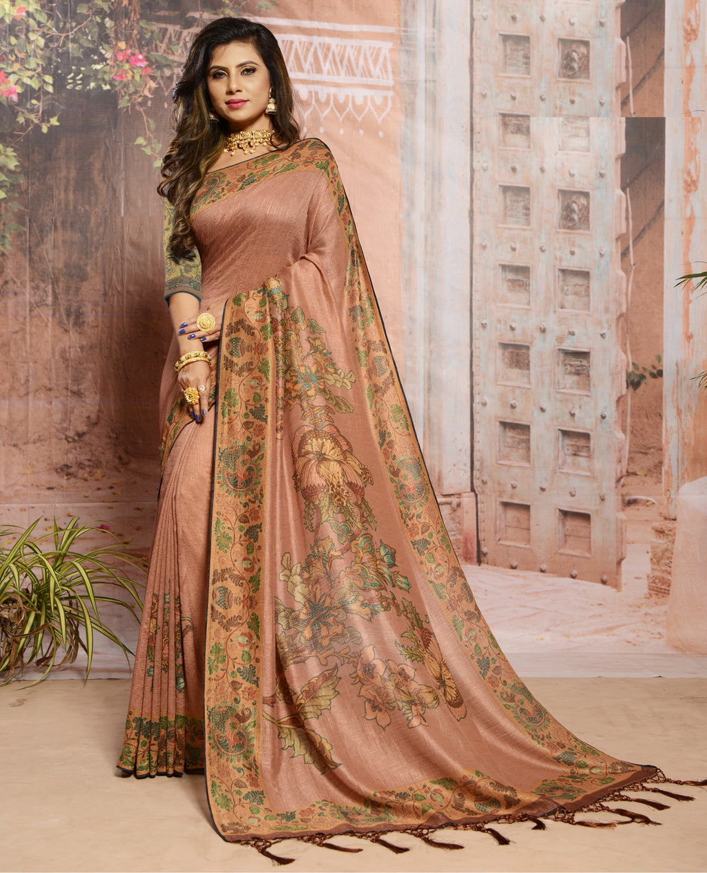 Rust Pink Color Raw Silk Digital Print Festive Sarees NYF-7878