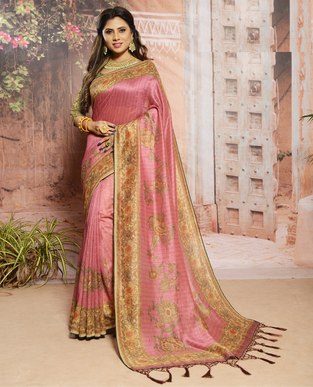 Pink Color Raw Silk Digital Print Festive Sarees NYF-7879