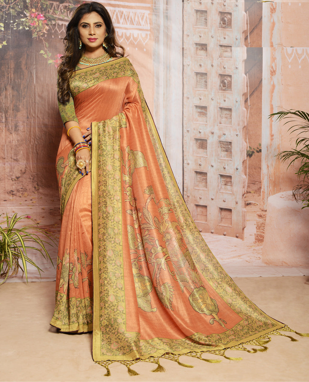 Orange Color Raw Silk Digital Print Festive Sarees NYF-7880
