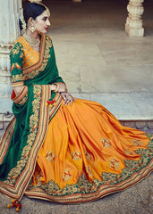 Green & Yellow Color Raw Silk Designer Traditional Sarees : Samanvi Collection  YF-50219