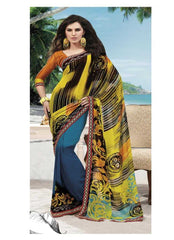 Yellow and Blue  Color Georgette Printed Casual Sarees : Suzanna Collection YF-19445
