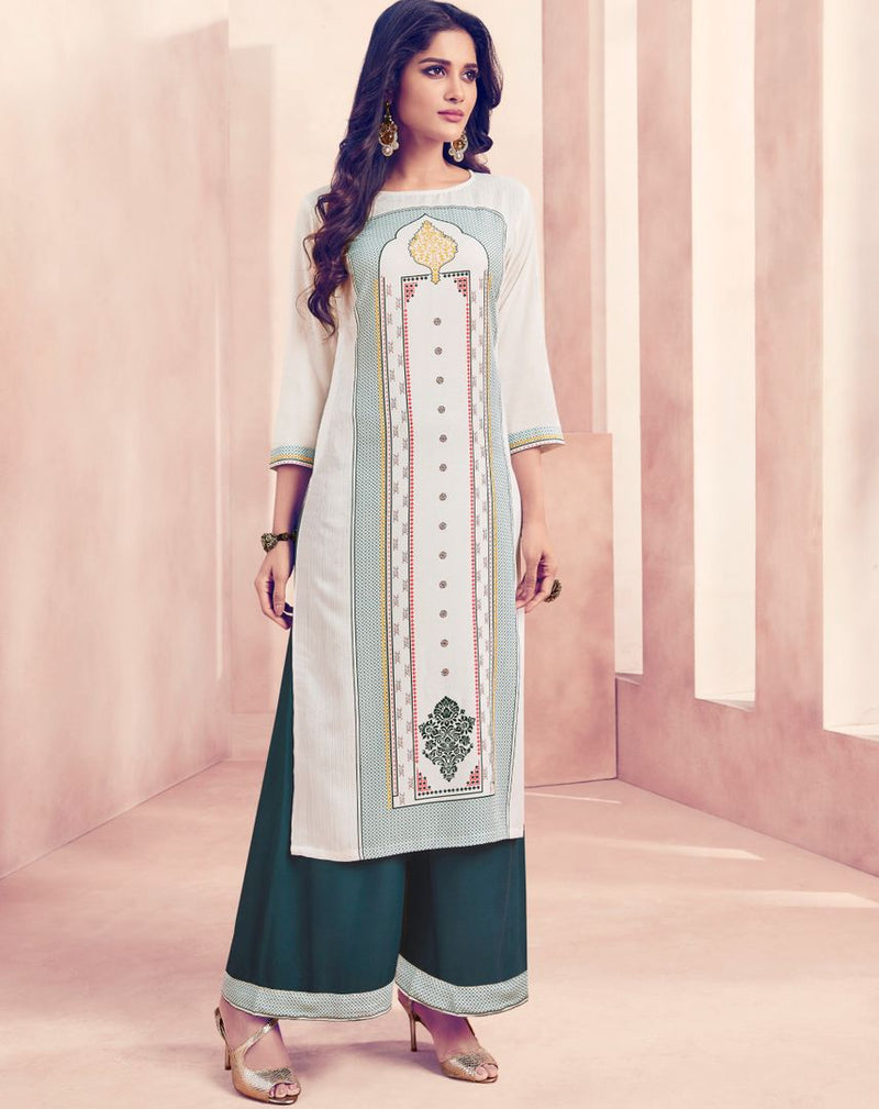 Off White Color Rayon Beautiful Kurti With Bottom NYF-4723