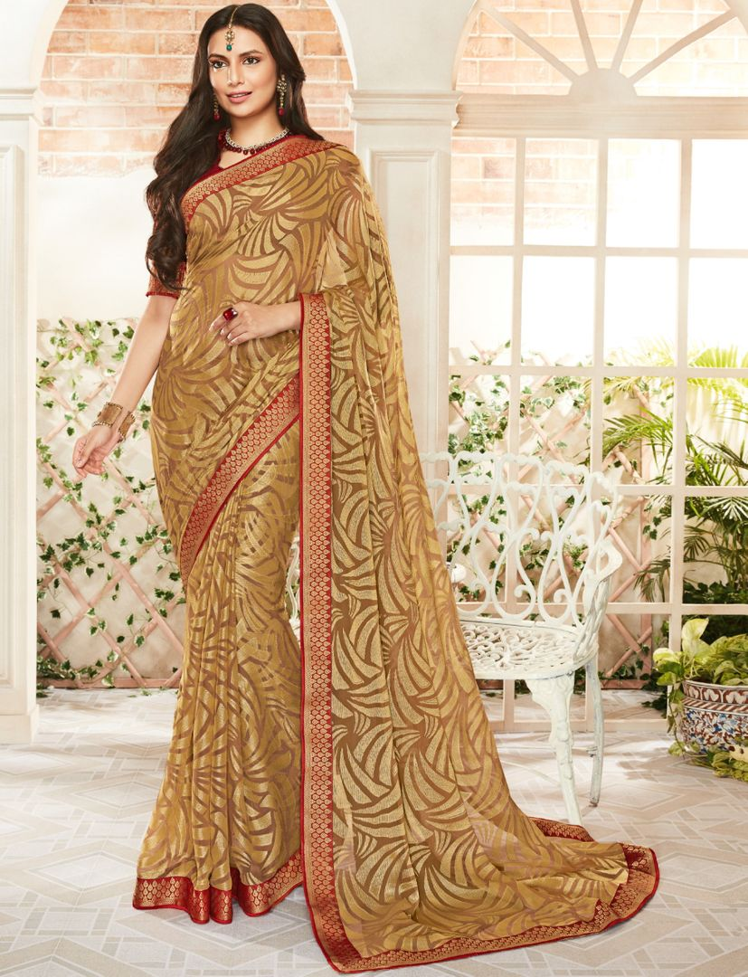 Golden Color Brasso Beautiful Kitty Party Sarees NYF-4411
